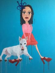 """""""I am not perfect""""- when relaxing with Dog 2017 240cm x 180cm Oil on canvas"""